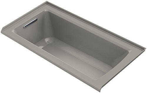 KOHLER K-1947-VBL-K4 Archer 60 In. x 30 In. Alcove VibrAcoustic Bath with Tile Flange and Left-Hand Drain, Cashmere