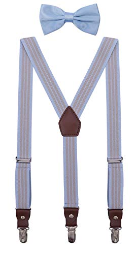 ORSKY Mens' Bow Tie and Suspenders Adjustable Elastic 47 Inches Blue Grey Stripe