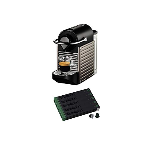 Nespresso C60 Pixie Electric Titan Single Cup Espresso Maker with Nespresso Original Capriccio Espresso Capsules Bundle