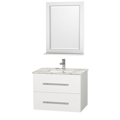 delicate Wyndham Collection Centra 30 inch Single Bathroom Vanity in Matte White with White Carrera Top with Square Porcelain Undermount Sink
