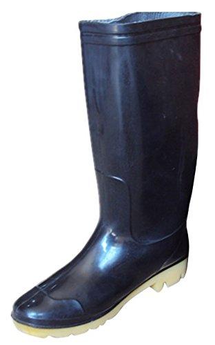Idifu Heren Waterdicht Antislip Ronde Neus Lange Laarzen Regenlaarzen Lange Rubberen Schoenen Zwart 2