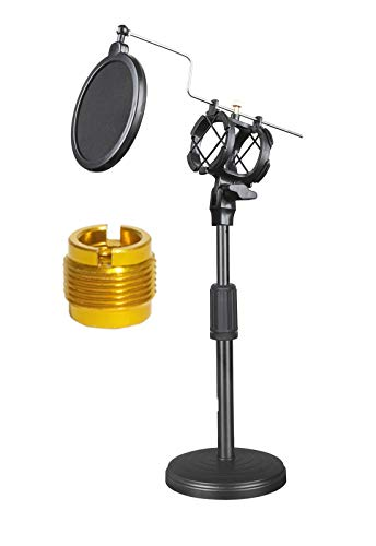 Adjustable Desktop Microphone Stand Tabletop Mic Stands with Mic Pop Filter for Blue Yeti Snowball