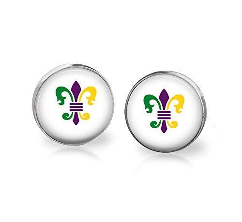 Fleur de Lis Earrings Mardi Gras Jewelry Studs Handmade New Orleans