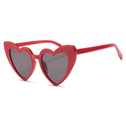 Sol en E Burenqi Vintage Forma Rosa Corazón Amor Gafas Sol de Corazón de UV400 de Rojo UN Gafas Negro Mujer IISF1wqC