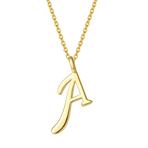 FANCIME Yellow Gold Plated Initial Necklace High Polish Monogram Letter Initial A Necklace Sterling Silver Fine Jewelry for Women Girls 16
