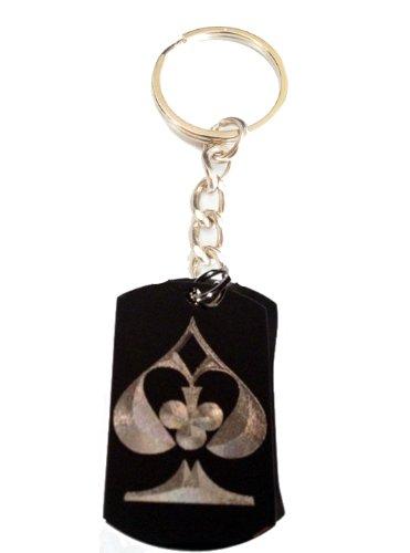 Gambling Poker Cards All Suit Ace Club Diamond Spade Logo Symbols - Metal Ring Key Chain Keychain