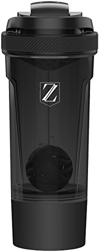 Zoyer Protein Shaker Bottle (24-Ounce) Mixer Bottle With Twist And Lock Protein Box Storage (Black)