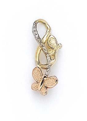 Tricolore 14 carats Papillon-Pendentif JewelryWeb Laser
