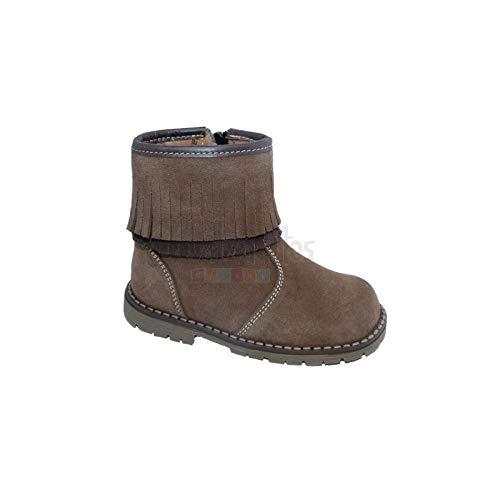 Andanines Botines para niña en piel serraje de color marrón con flecos, Marrón, 24: Amazon.es: Zapatos y complementos
