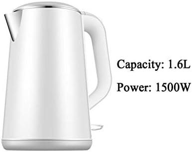 LXDDP Bouilloire électrique Mise Hors Tension Automatique grancapacité 1500w Isolation Anti-brûlure intégrée en Acier Inoxydable 1,6l Blanc