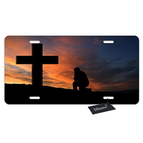 WONDERTIFY License Plate Christian Religious The Lord's Prayer Pray When Life Gets Too Hard to Stand Kneel Decorative Car Front License Plate,Metal Car Plate,Aluminum Novelty License Plate,6X12 Inch