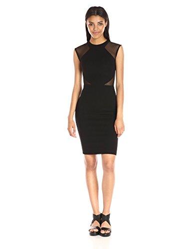 French Connection Women's Viven Bodycon Semi Sheer Stretch Dress, Black Cutout, 6