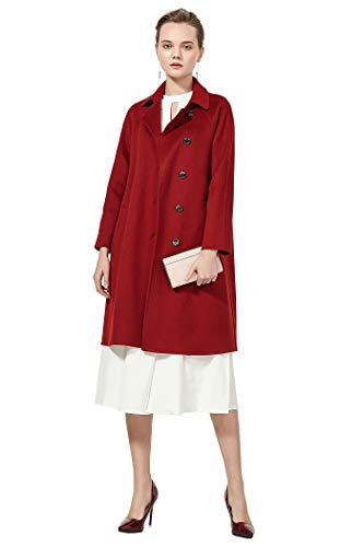 VOA Chinese Red Retro Top Collar Slant Pocket Ladies Cashmere Wool Pea Coat S508
