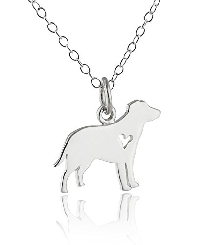 Sterling Silver Labrador Retriever Dog with Heart Cutout Charm Pendant Necklace, 18 Inch Chain