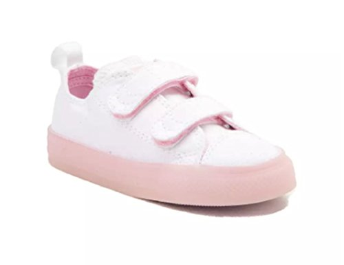 Converse Baby Chuck Taylor All Star 2V Translucent Midsole Low Top Sneaker, White/Cherry Blossom, 2 M US Infant Infants Low Top Shoes