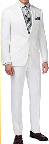 New Men's 2 Button White Dress Suit - Includes Jacket and Pants,38 Long