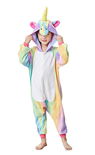 Kids Unicorn Cosplay Onesies Costume,Child Cute One Piece Animal Pyjamas Rainbow 6-8 for $<!--$22.99-->