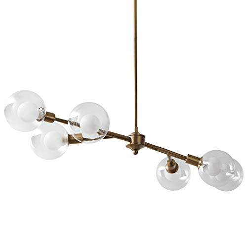 (Rivet Mid-Century Modern Glass Globe Ceiling Pendant Chandelier With 6 Light Bulbs - 40.5 x 14 x 6.75 Inches, 6 - 48 Inch Cord, Gold)