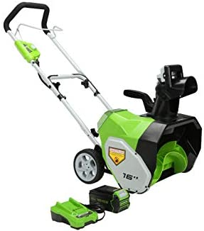Greenworks SN40B410 16-Inch 40V Cordless Snow Thrower, 4Ah Battery and Charger Included