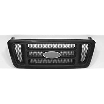 Fit 2004-2008 Ford F150 Black Halo Projector Headlights+Chrome Hood Mesh Grille
