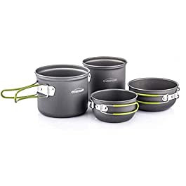 Overmont Portable 2-3 Person Outdoor Camping Pot Set Hiking Picnic Camping Gear Aluminum Alloy Cookware and Pot Set