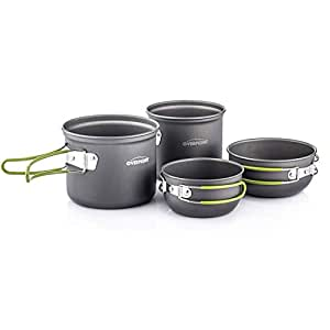 (201) - Overmont Portable 3-4 Person Outdoor Camping Hiking Picnic Aluminium Alloy Cookware Set