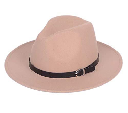 Lanzom Women Men Retro Style Wide Brim Panama Hat Belt Buckle Wool Fedora Hat (Camel, One - Camel Tan Wool