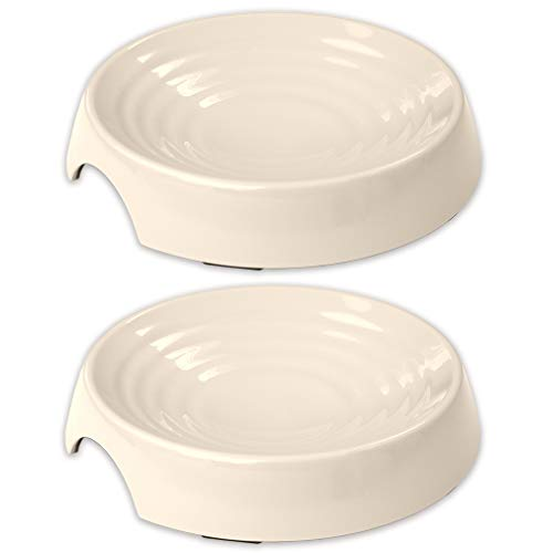 (CatGuru New Premium Whisker Stress Free Cat Food Bowls, Cat Food Dish. Provides Whisker Stress Relief and Prevents Overfeeding! (Round - Set of 2 Bowls, Ivory))