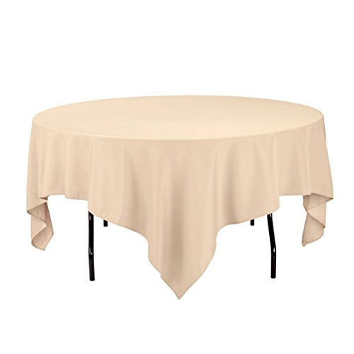 LinenTablecloth 85-Inch Square Polyester Tablecloth - Beige Square Tablecloth