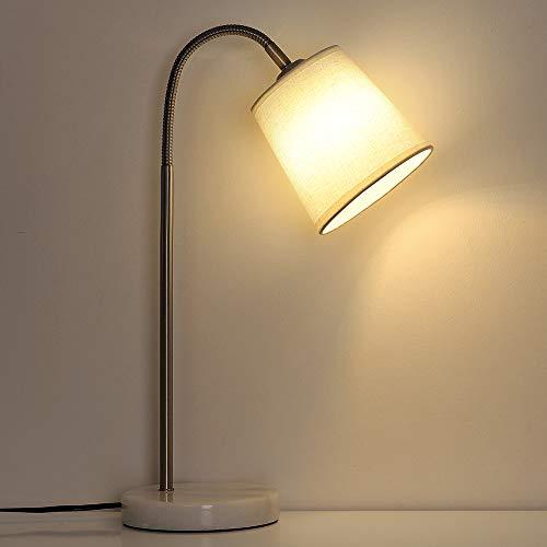 HAITRAL Modern Desk Lamps – Bedside Table Lamp with Flexible Gooseneck, Marble Base White Task Lamps for Office, Bedroom, College Dorm – White HT-AD011