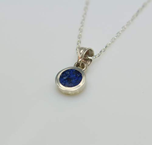 (Circle-shaped Lapis Lazuli Gemstone Mosaic Sterling Silver Necklace 16.1'' to 17.7 inches, Adjustable Chain, Semi Precious Stone )