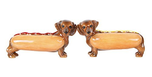 (Pacific Giftware Adorable Hot Dog Buns Doxies Ketchup Mustard Salt and Pepper Shaker Set Cute Dachshund Wiener Dog Tabletop Decoration SP Set)