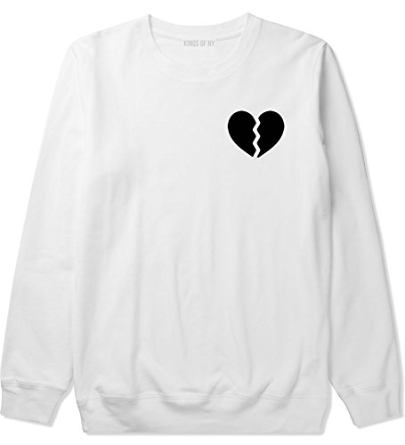 Heart Crewneck Sweatshirt - Kings Of NY Broken Heart Mens Crewneck Sweatshirt X-Large White