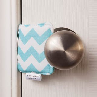 The Original Cushy Closer Door Cushion- Chandler Blue - Chevron | No More Noisy Doors! | Door Latch Cover- Baby Safety for Quiet Doors-Child Proofing