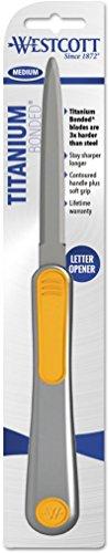 Blade Hand Letter Opener - Westcott Pub Titanium Bonded Blade Hand Letter Opener with Redesigned Handle, 9
