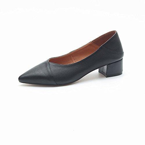 de Banlieue Femmes Noir Chaussures Chaussures Des HH Épaisse les Profondes Femmes de Hauts à Joker Talons avec Peu Chaussures Travail une CqTBSx