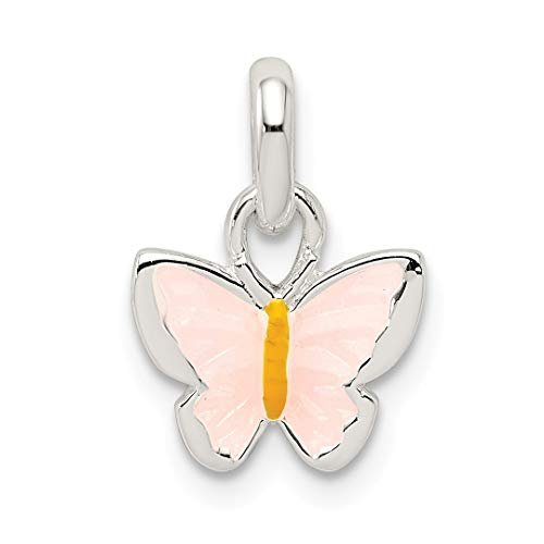 925 Sterling Silver Childrens Pink/yellow Enameled Butterfly Pendant Charm Necklace Kid Animal Fine Jewelry For Women Gift Set -