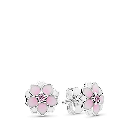 PANDORA Magnolia Bloom Stud Earrings, Sterling Silver, Pale Cerise Enamel & Pink Cubic Zirconia, One Size