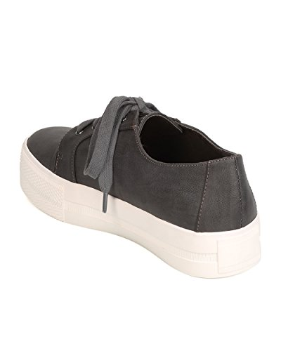 Round Flatform Up Toe Michael Charcoal Women Leatherette FI47 Lace Antonio Sneaker wRIqFHA