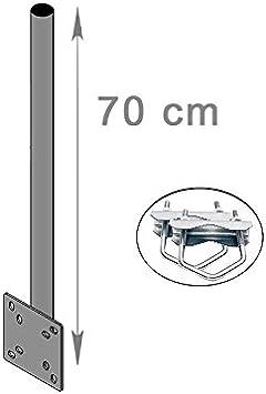 HD Line – Extensión para mástil Pared & Balcón Montaje con Abrazadera (Horizontal o Vertical) Soporte mastroh Antena Balcón 70 cm para Espejo Sat ...