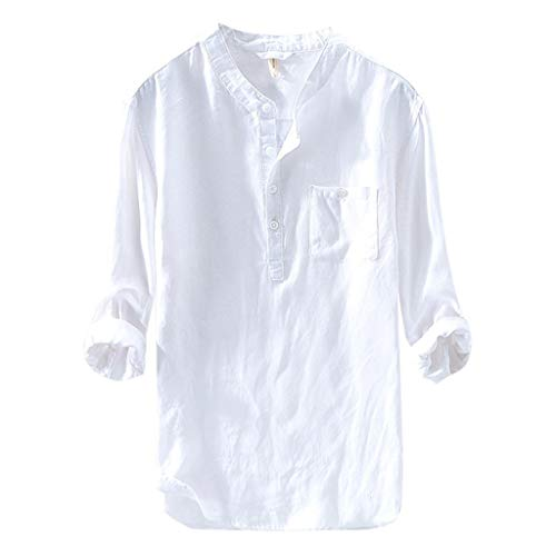 (Men's Tops Causal Shirt Long Sleeve Button Cotton Linen Loose Blouse White)