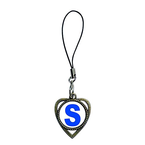 GiftJewelryShop Ancient Bronze Retro Style Chocolate Dipped Strawberry Photo Heart Shaped Strap hanging Chain for Phone Cell Phone Charms