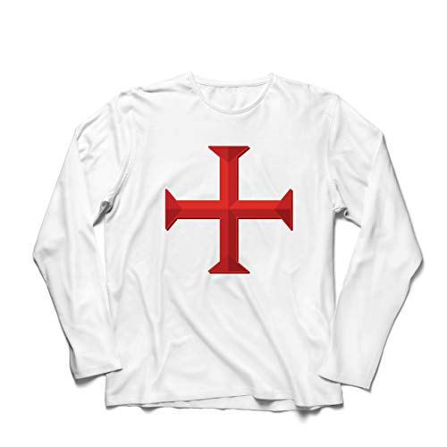 lepni.me Men's T-Shirt The Knights Templar Cross Poor Fellow-Soldiers of Christ (Medium White Multi Color)