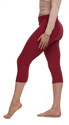LMB Lush Moda Extra Soft Capri Leggings - Variety of Colors - Yoga Waist - Burgundy