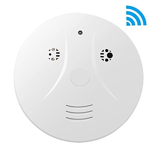 CAMXSW Upgraded Wi-Fi Smoke Detector Camera 1080p HD Mini Video Recorder Nanny Cam with Motion Detection, Wireless IP Home Security Camera Android IOS Free App Live Stream