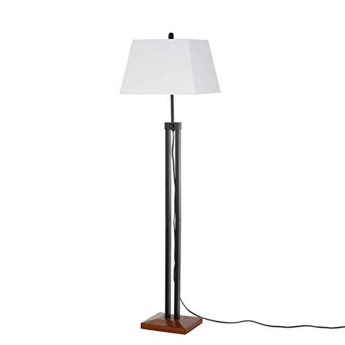 Stone & Beam Modern Farmhouse Wood Base Adjustable Living Room Floor Lamp With LED Light Bulb And White Shade- 16 x 16 x 66.25 Inches, Black (Base Lamp Floor Black)