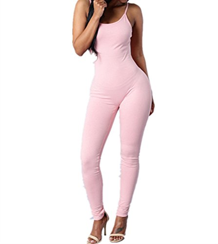 [Xuan2Xuan3 Women Spaghetti Strap Bodycon Tank One Piece Jumpsuits Rompers Playsuit] (Pink Spandex Bodysuit)