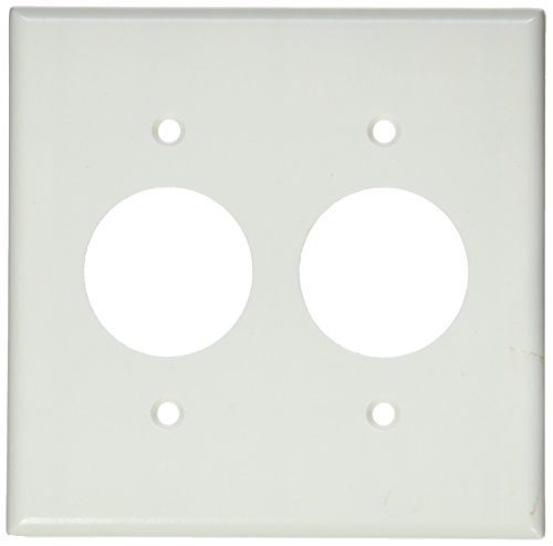 Wall Plate Plates 2 Hole - Leviton 88052 2-Gang Single 1.406-Inch Hole Device Receptacle Wallplate, Standard Size, Thermoset, Device Mount, Midway Size, White
