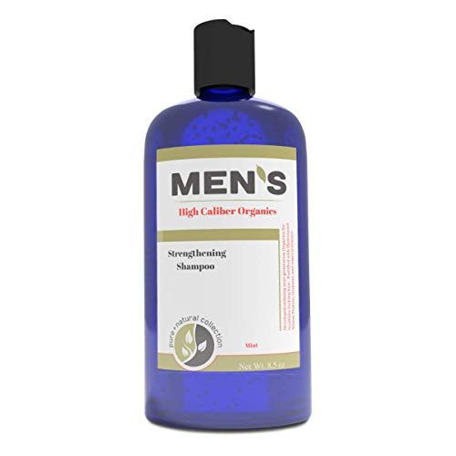 Organic mens shampoo with Tea Tree Oil, Strengthening formula, PH balanced, sulfate free. Fortified with Hydrolyzed Protein, Pro-Vitamin B5, Vitamin E - Mint 8.5 oz