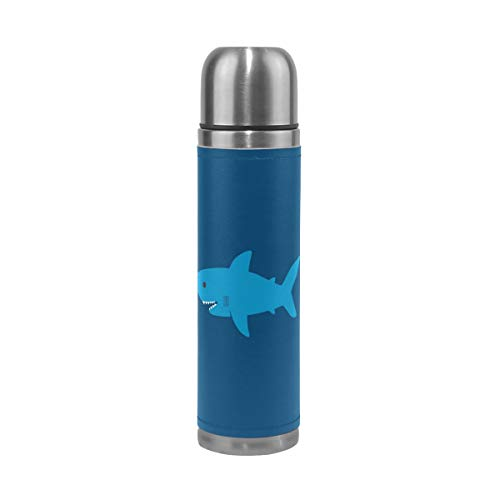 Thermos 17.5oz Custom Cute Cartoon Blue Shark Kids Adults Vacuum Insulated Stainless Steel Water Bottle